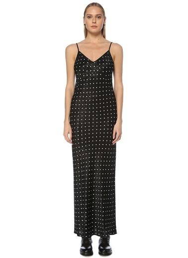 Beymen Studio Beymen Studio  V Yaka Askılı Jakarlı Maksi Elbise 101594050 Siyah